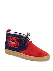 Del Toro Printed Two Tone Suede Chukka Boots Red