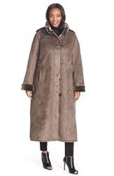 Gallery Hooded Long Faux Shearling Coat Plus Size Smoke