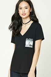 Forever 21 Los Angeles Graphic V Neck Tee