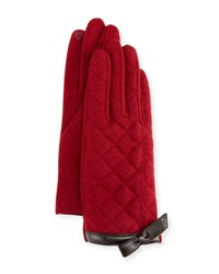 Portolano Bow Cuff Quilted Gloves Wine Brown
