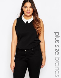 New Look Inspire Sleeveless Top With Collar Black