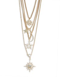 Rj Graziano Goldtone And Crystal Pave Moon And Stars Layered Necklace
