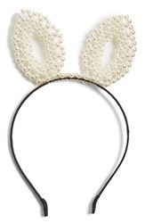 Berry Faux Pearl Bunny Headband White