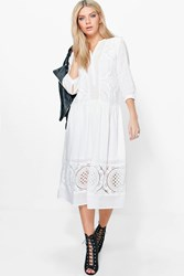 Boohoo Ashley White Lace Button Up Smock Dress White
