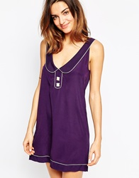 Huit Tropic Retro Riviera Beach Dress Majesticviolet