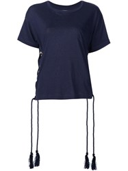 Sacai Lace Up T Shirt Blue