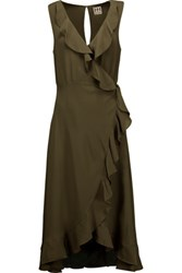 Haute Hippie Ruffled Silk Wrap Dress Army Green