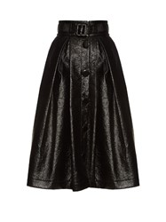 A.W.A.K.E. Real Punk Patent Effect Midi Skirt Black