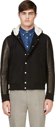 Band Of Outsiders Black Wool And Leather Hooded Jacket