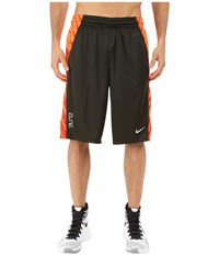 Nike Elite Powerup Shorts Sequoia Bright Citrus Team Orange Metallic Silver Men's Shorts Black