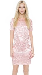 Nina Ricci Short Sleeve Crinkled Dress Pale Pink