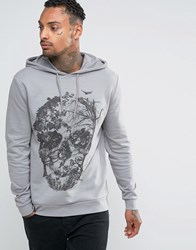 Asos Halloween Oversized Hoodie With Floral Skull Print Wild Dove Grey