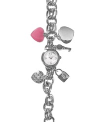 Style And Co. Watch Women's Heart Charm Bracelet Sc1158 Silver