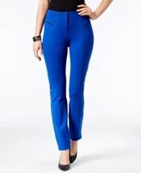Alfani Faux Leather Trim Skinny Pants Only At Macy's Modern Blue