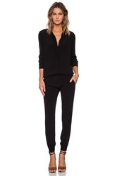 Monrow Crepe Long Sleeve Jumpsuit Black