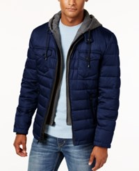 Buffalo David Bitton Big And Tall Men's Puffer Jacket With Jersey Hood Navy