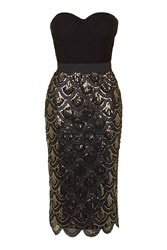 Scallop Sequin Bustier Midi Dress By Rare Black