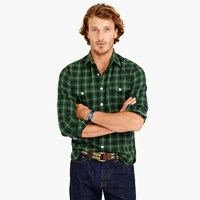J.Crew Wallace And Barnes Flannel Shirt In Green Plaid