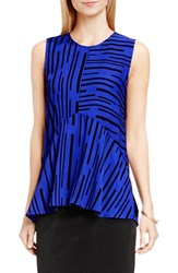 Vince Camuto Women's Print Sleeveless Ruffle Front Blouse Optic Blue