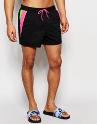 Asos Short Length Swim Shorts In Black With Neon Cut And Sew Black