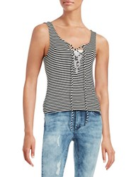 Vintage Havana Striped Lace Up Tank Black