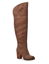 Splendid Loretta Over The Knee Suede Boots Dark Tan