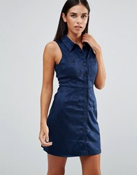 Ax Paris Suedette Shirt Dress Navy