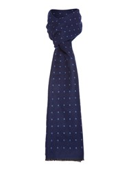 New And Lingwood Polka Dot Formal Scarf Navy