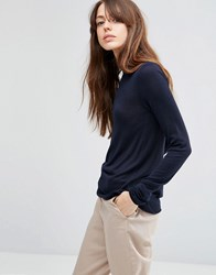 Asos Jumper With Crew Neck In Soft Yarn Navy