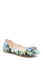 Godiva Pointed Toe Floral Print Flat Blue