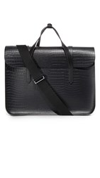 The Cambridge Satchel Company Stamped Croc Large Folio Briefcase Black