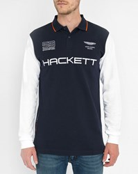 Hackett Navy Aston Martin Multi Coloured Polo Shirt Blue