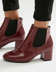 Daisy Street Burgundy Patent Chelsea Boots Burgundy Patent Red