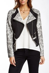 Fillmore The 296 Faux Leather Snake Print Mixed Media Jacket Black