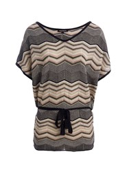 Morgan Zigzag Belted Tunic In Fine Knit Pink