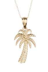 Candela 10K Yellow Gold Palm Tree Pendant Necklace Metallic