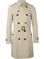 Burberry Double Breasted Gabardine Trench Coat Nude And Neutrals