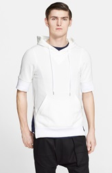 Helmut Lang Side Zip Cotton Terry Hoodie Optic White