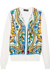 Dolce And Gabbana Printed Silk Cardigan Yellow