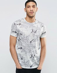 Asos T Shirt With Floral And Bird Print In Linen Look Fabric In Ecru Ecru White