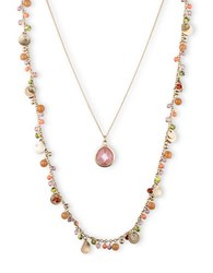 Lonna And Lilly Two Row Mixed Bead Pendant Necklace Pink