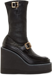 Sacai Black Leather Mid Calf Wedge Boots