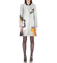 Mary Katrantzou A Line Metallic Brocade Coat Silver