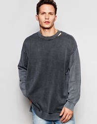 Cheap Monday Crew Jumper Impact Knit Loose Fit Distressed Neck In Black Black