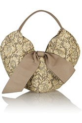 Valentino Straw Appliqued Jacquard Shoulder Bag Nude