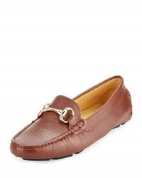 Neiman Marcus Daize Leather Flat Loafer Sepea Dk