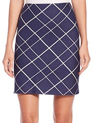Aquilano Rimondi Plaid A Line Skirt Blue Multi