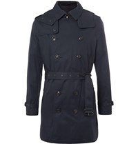Burberry Brit Delsworth Cotton Gabardine Hooded Trench Coat Blue