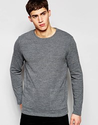 Asos Jumper With Front Pockets Charcoal