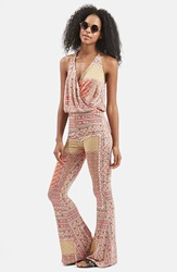 Topshop 'All In 1' Scarf Print Flare Jumpsuit Red Multi
